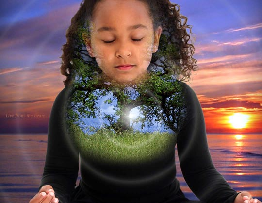 Girl Meditating with Inner Tree