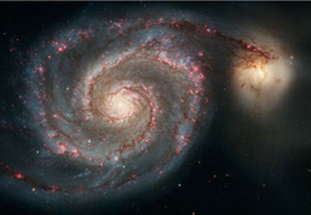 Hubble Photo of Spiral Galaxies Connecting